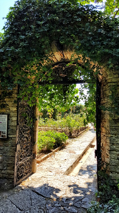 Canvas Print Stone Arc Entry Garden Gate Stretched Canvas 10 X 14
