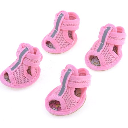 Unique Bargains 2 Pairs Rubber Sole Pink Mesh Sandals Yorkie Chihuaha Dog Shoes Size (Yorkie Pin)