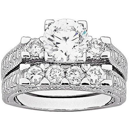 4.9 Carat T.G.W. Brilliant CZ Antiqued Two-Piece Silver-Tone Wedding Ring Set
