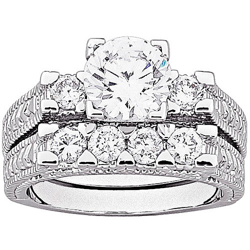 4.9 Carat T.G.W. Brilliant CZ Antiqued Two-Piece Silver-Tone Wedding Ring Set