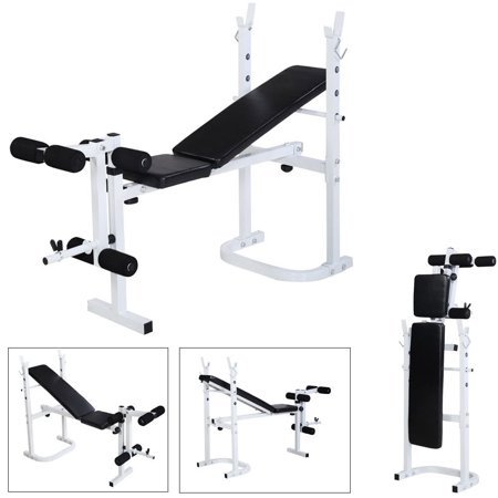 Zimtown Folding Olympic Weight Bench, Adjustable Professional Multi-Functional Workout Bench set, with Preacher Curl Leg Developer, for Weight Lifting and Strength