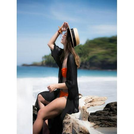 Women Chiffon 3/4 Sleeves Shawl Kimono Cardigan Cover Up Beach Dress (Kimono Shade)
