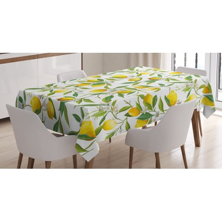 Lemon Tablecloth (Nature Tablecloth, Flowering Lemon Woody Plant Romance Habitat Citrus Fresh Background, Rectangular Table Cover for Dining Room Kitchen, 60 X 84 Inches, Fern Green Yellow White, by Ambesonne)