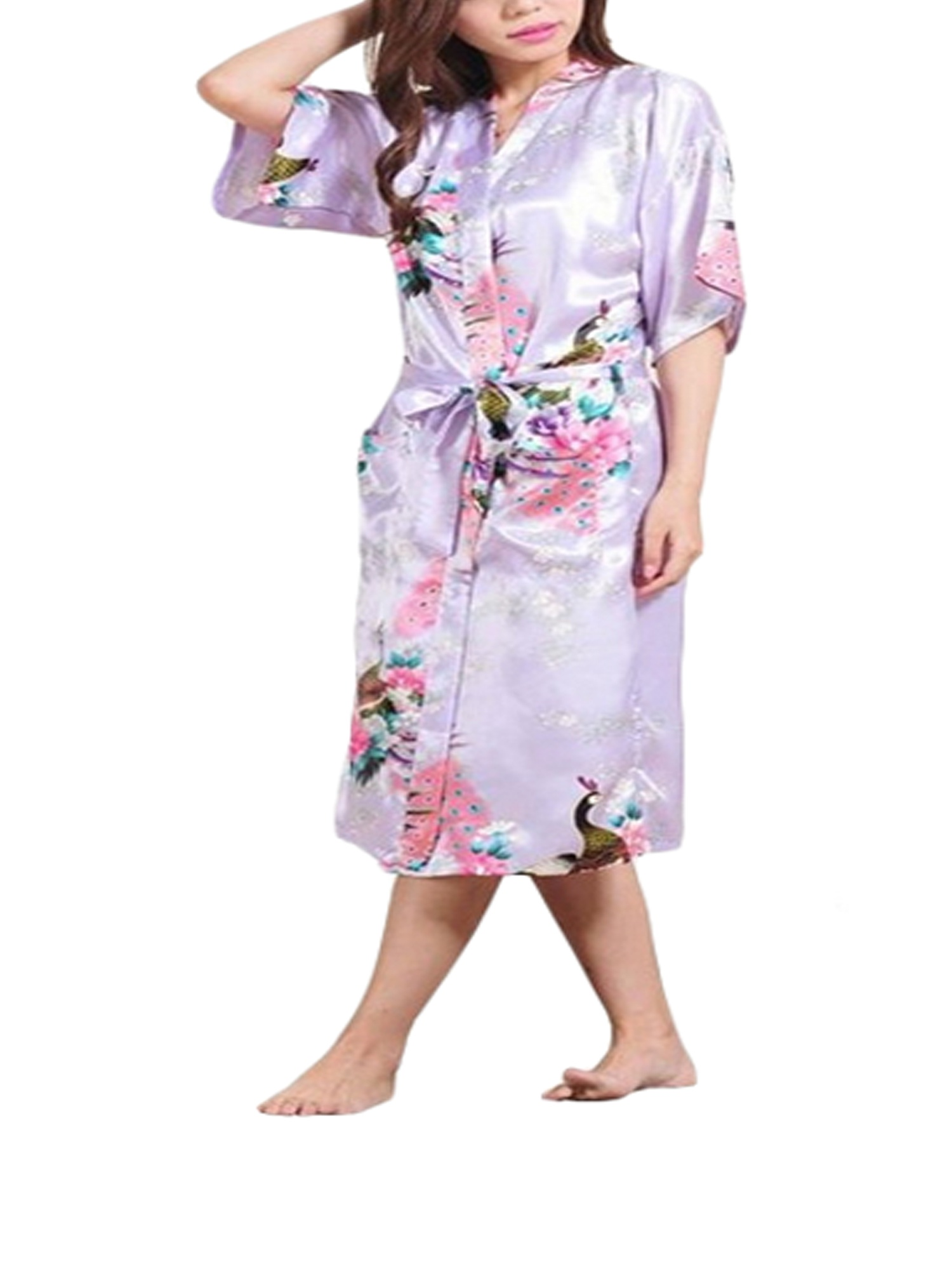 Medium Length Womens Robes, Sizes 2 to 20, Bride & Bridesmaid Robe - Floral Lightweight Sleepwear