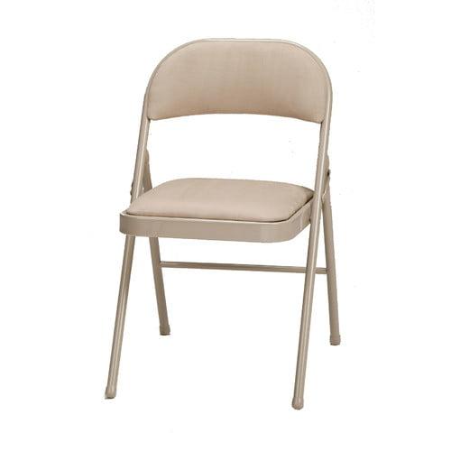 Fabric Double Padded Folding Chair Sand Buff Walmart Com Walmart Com