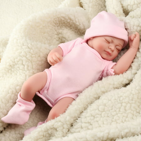 My.way 11'' Cute Realistic Silicone Vinyl Sleeping Reborn Babies Doll That Look Real Lifelike Realike Alive Newborn Girl Dolls Handmade Weighted Alive Doll for Toddler Kid Gifts