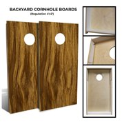Slick Woody's Backyard Almond Wood Cornhole Board Set with 8 Bags in Natural