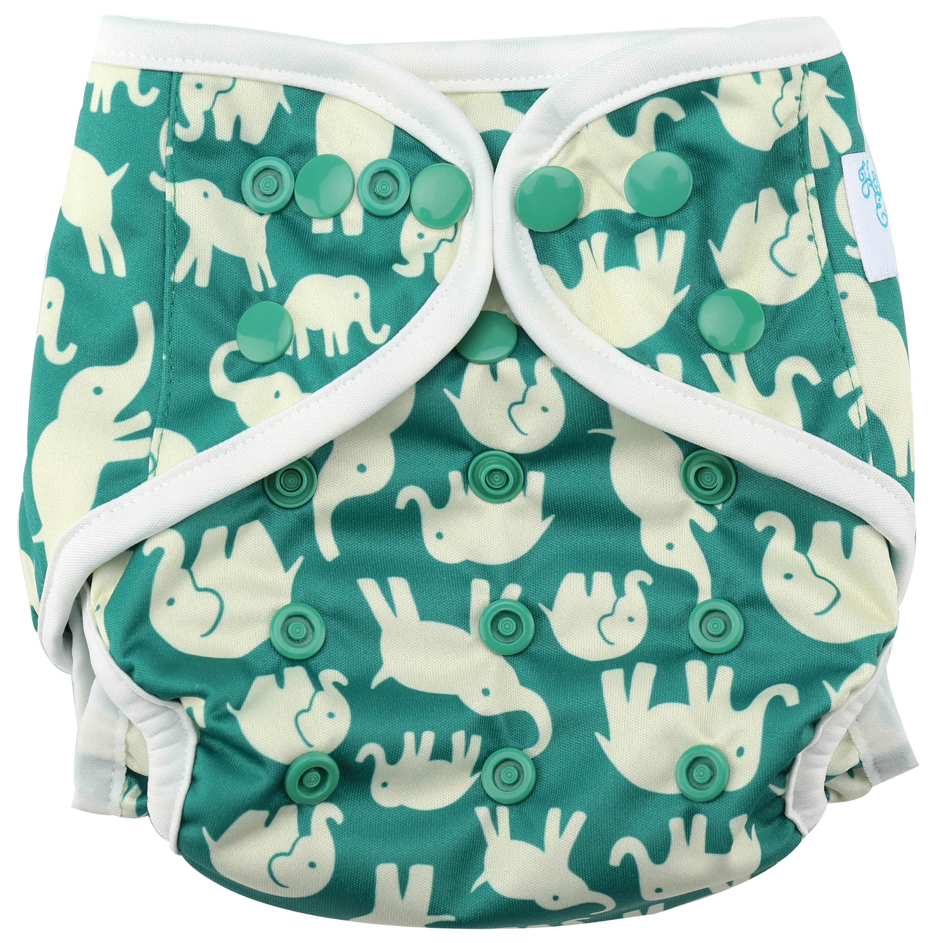 "HappyEndings One Size Cloth Diaper Cover AI2 System ""Elephants"""