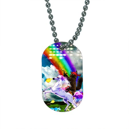 KuzmarK Pendant Dog Tag Necklace - Kitty Cat Gold Gun Rainbow Unicorn - Unicorn Necklace