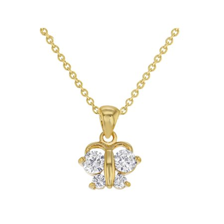 - 18K Gold Plated Clear CZ Butterfly Pendant Necklace for Toddlers Girls 16