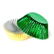 Make N Mold 5025F2 Gold & Green Fall Foil Wraps Candy Cups, Pack of 12