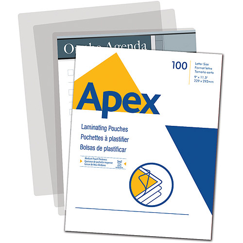 Apex Standard Laminating Pouches, Letter Size 5mm, 100 Per Pack