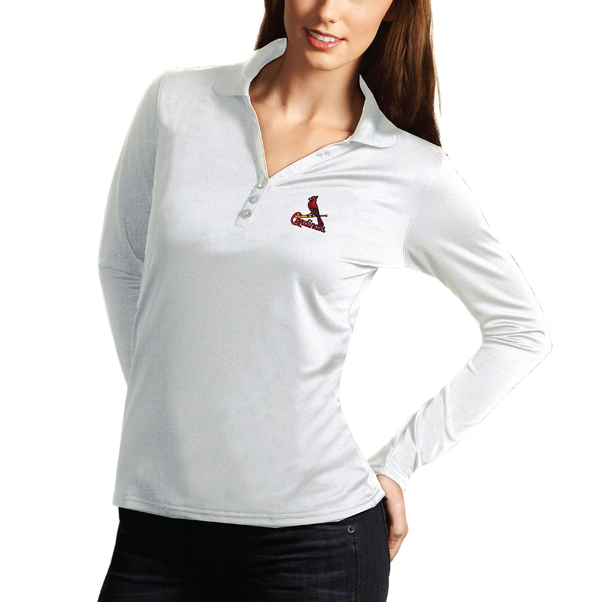 St. Louis Cardinals Antigua Women's Desert Dry Xtra Lite Exceed Long Sleeve Polo - White