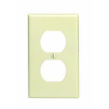 - Leviton 86003 Ivory Single Gang Duplex Receptacle Wall Plate