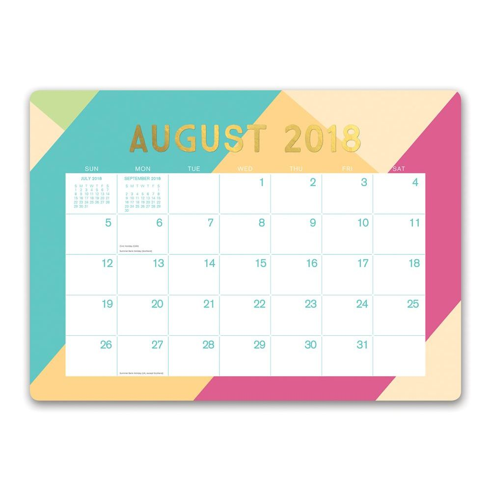 Beau Orange Circle Studio 2019 Decorative Desk Blotter Calendar, August 2018    December 2019, Searchlights