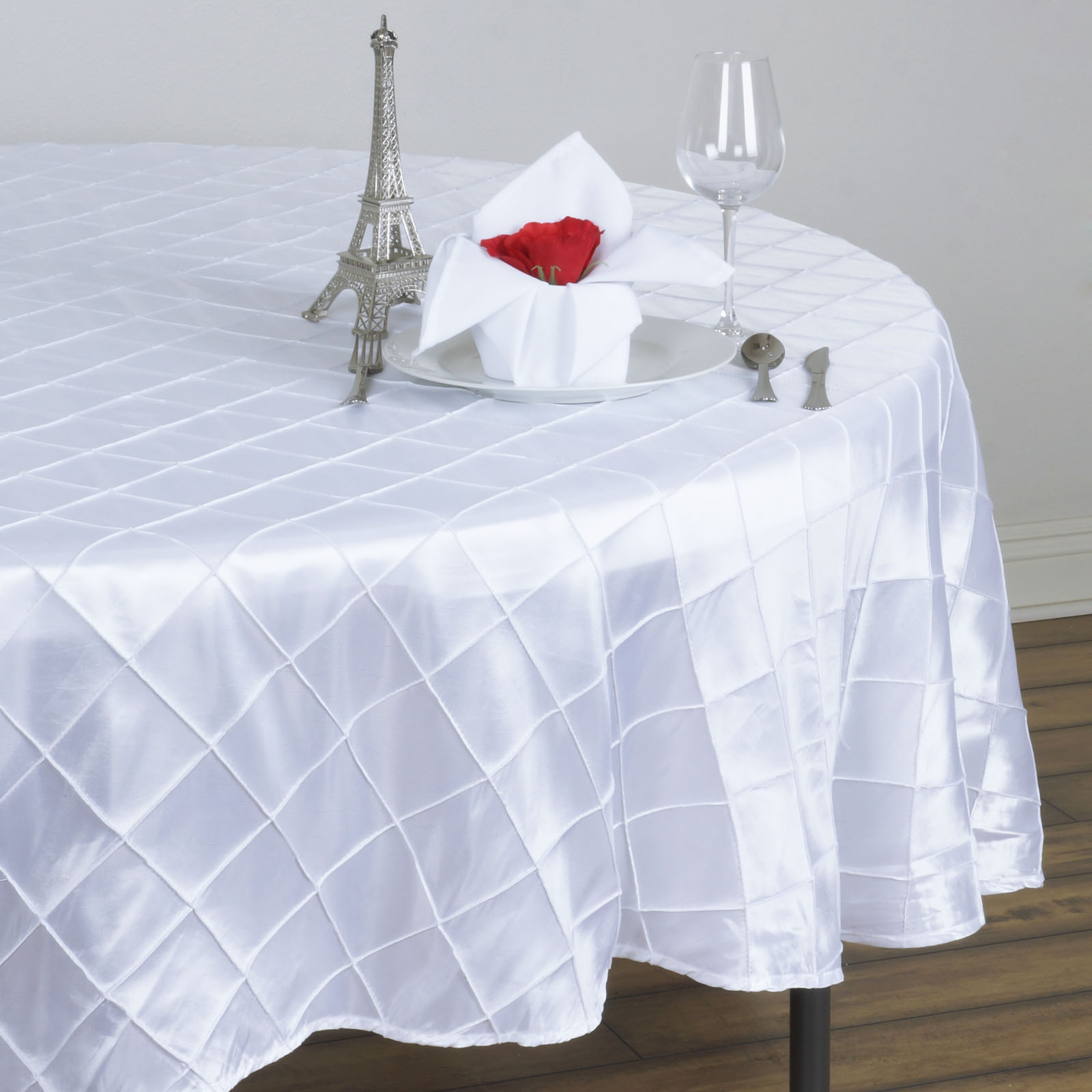 "Click here to buy BalsaCircle 90"" Pintuck Taffeta Round Tablecloth Wedding Party Linens."