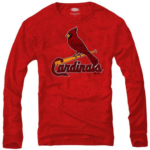 Majestic Threads St. Louis Cardinals Tri-Blend Logo Long Sleeve T-Shirt - Red