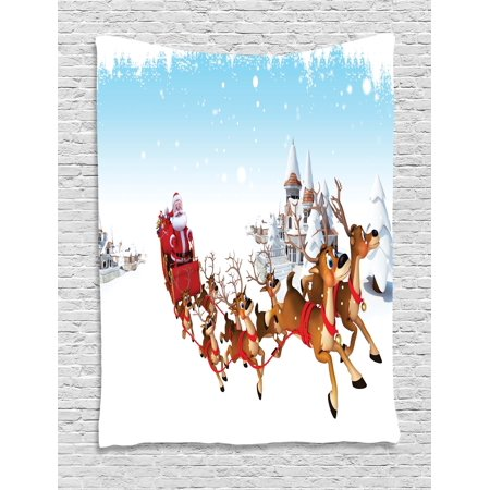 - Santa Tapestry, Christmas Ride on a Sleigh Cartoon Deer with Jingle Bells Winter Time, Wall Hanging for Bedroom Living Room Dorm Decor, 40W X 60L Inches, Caramel Red Pale Blue, by Ambesonne
