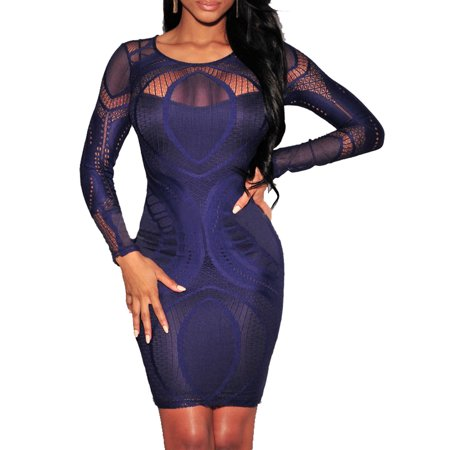 Keisha Lace Nude Illusion Long Sleeves Bodycon Dress set with lace panties ()