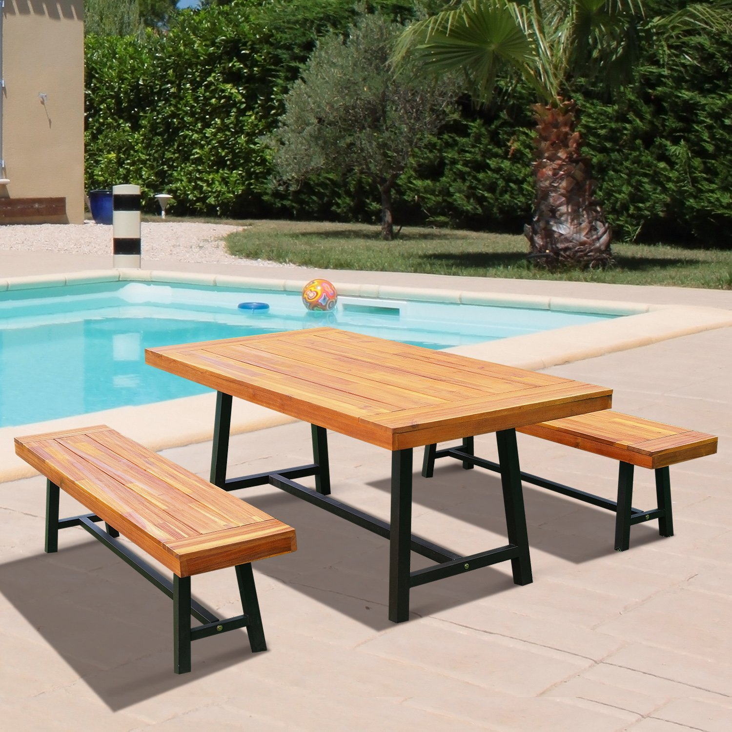 Click here to buy 71 Rustic Acacia Wood Outdoor Picnic Table and 63� Bench Seat Set Natural Red Wood.
