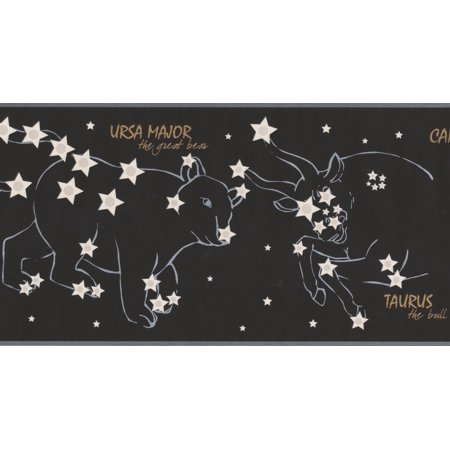 Night Sky with Marked Constellations Stars Black Wallpaper Border for Kids Bedroom Bathroom, Roll 15' x 7''](Halloween Night Wallpaper)