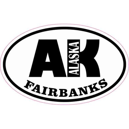 4in x 2.5in Oval AK Fairbanks Alaska Sticker (Fairbanks Replacement)
