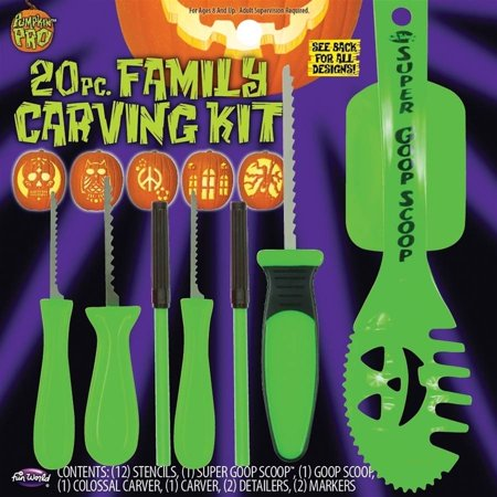 20 Piece Family Pumpkin Carving Kit by Fun World - Halloween Pumpkin Carvings Stencils