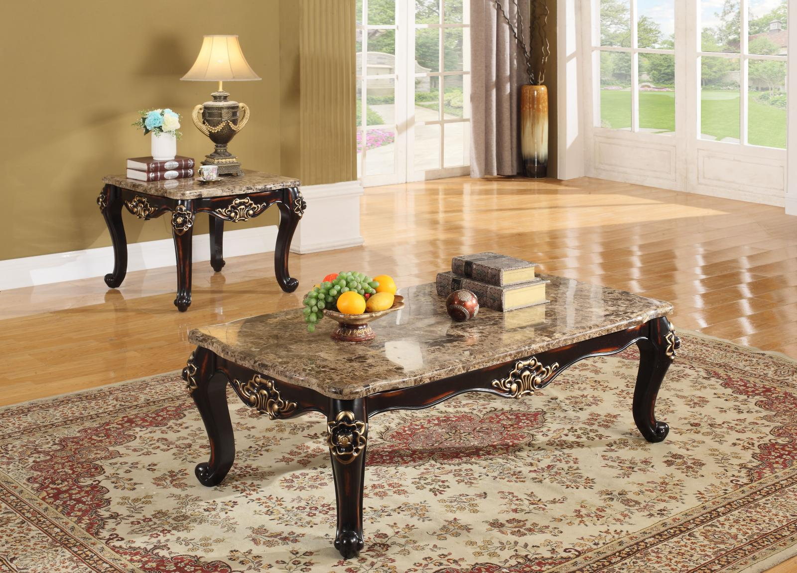 Meridian Barcelona Coffee Table Set 3pcs In Rich Cherry Traditional Style