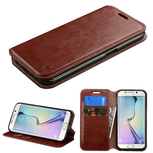 Samsung Galaxy S6 Edge Case - Wydan Wallet Case Folio Flip Leather Kickstand Feature Credit Card Slot Style Cover Hot Pink