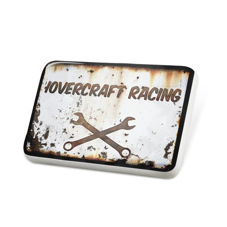 Racing Hovercraft (Porcelein Pin Rusty old look car Hovercraft racing Lapel Badge – NEONBLOND)