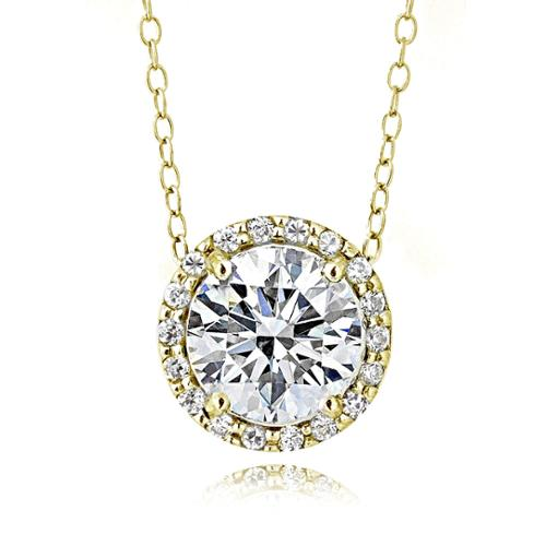 Gold Tone over Sterling Silver 100 Facets Cubic Zirconia Halo Necklace (2cttw)