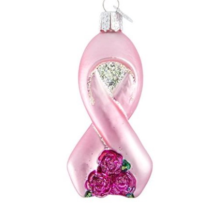 - Ornaments: Pink Ribbon with Roses Glass Blown Ornaments for Christmas Tree, ORNAMENTS FOR CHRISTMAS TREE: Hand crafted in age-old tradition.., By Old World Christmas