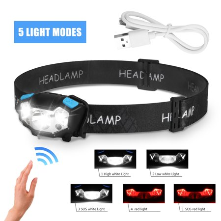 YUNDAP Headlamp, Brightest High 5000 Lumen USB Rechargeable LED Headlamp, Waterproof Head Lamp Flashlight Headlight, 5 Modes White Red Led Lamp, Lightweight Head Lights for Camping,Hiking, Outdoors - image 8 of 8