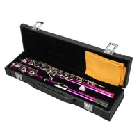 UBesGoo Cupronickel C 16 Closed Holes Concert Band Flute for Student Rose Red