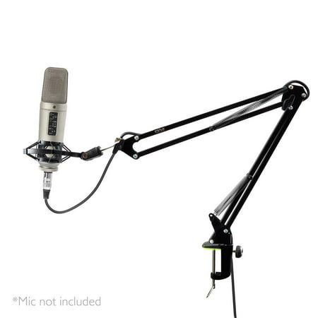 Pyle PMKSH01 - Suspension Microphone Boom Stand - Studio Scissor Arm Mic Mount Holder with Shock Mount Clip (Table Clamp - Series Boom Arm