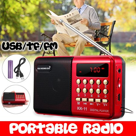 Mini Portable Radio LCD Digital FM Radio Receiver Telescopic Antenna Pocket Speaker Outdoor Speaker Battery Operated with Battery ,USB