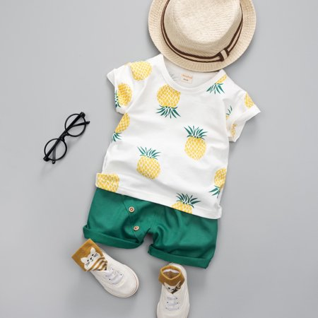 Infant Toddler Baby Boy Summer T-shirt+Shorts Outfits Pineapple Clothes 6-12M Green - Dark Angel Outfits
