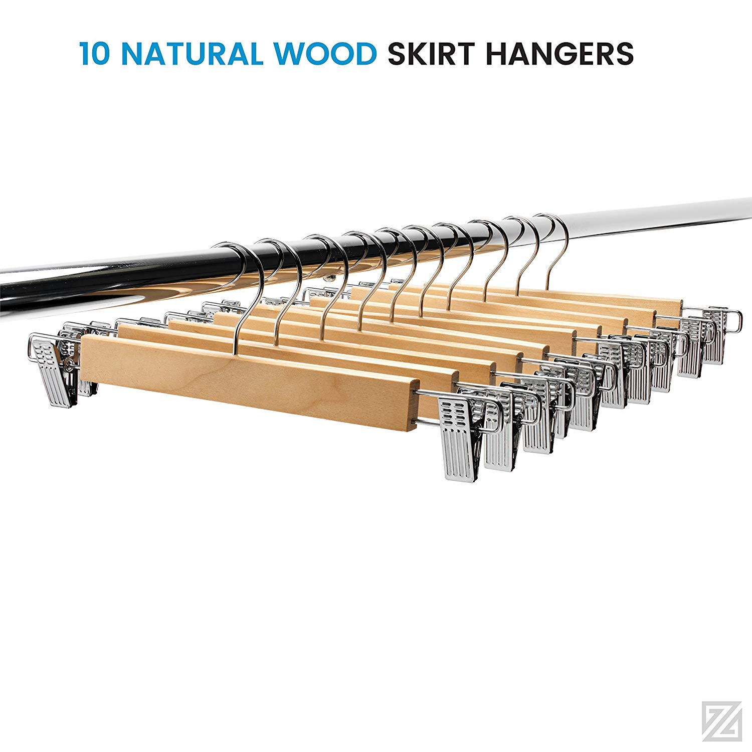 Zober Wood Skirt Hangers 13 X 4 Inches, Adjustable Clips With 360 Chrome Swivel Hook Non-Slip Trouser Hanger Natural Finish Lotus Wood Pants hangers, 360 Degree Swivel Hook Set of 10 Natural Finish