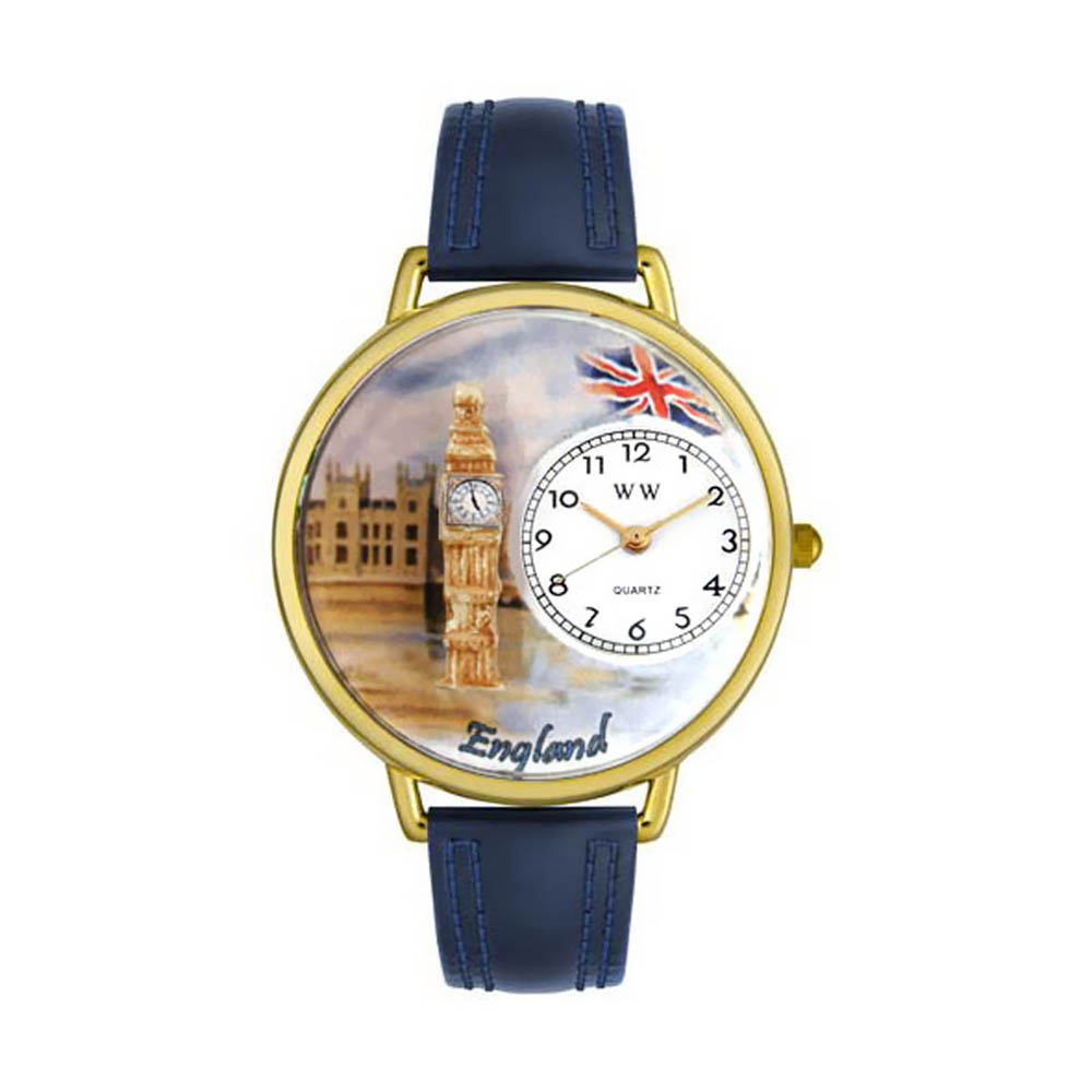 Whimsical Watches Womens G1420002 Unisex Gold England Navy Blue Leather And Goldtone Watch