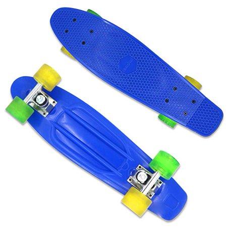 Roadwi Classic Plastic Cruiser Skateboard with Enhanced Bearings and Durable Rails (22