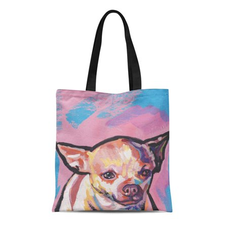 NUDECOR Canvas Tote Bag Dog Chihuahua Pop on Painting Portrait Bright Colors Modern Reusable Handbag Shoulder Grocery Shopping Bags - image 1 de 1