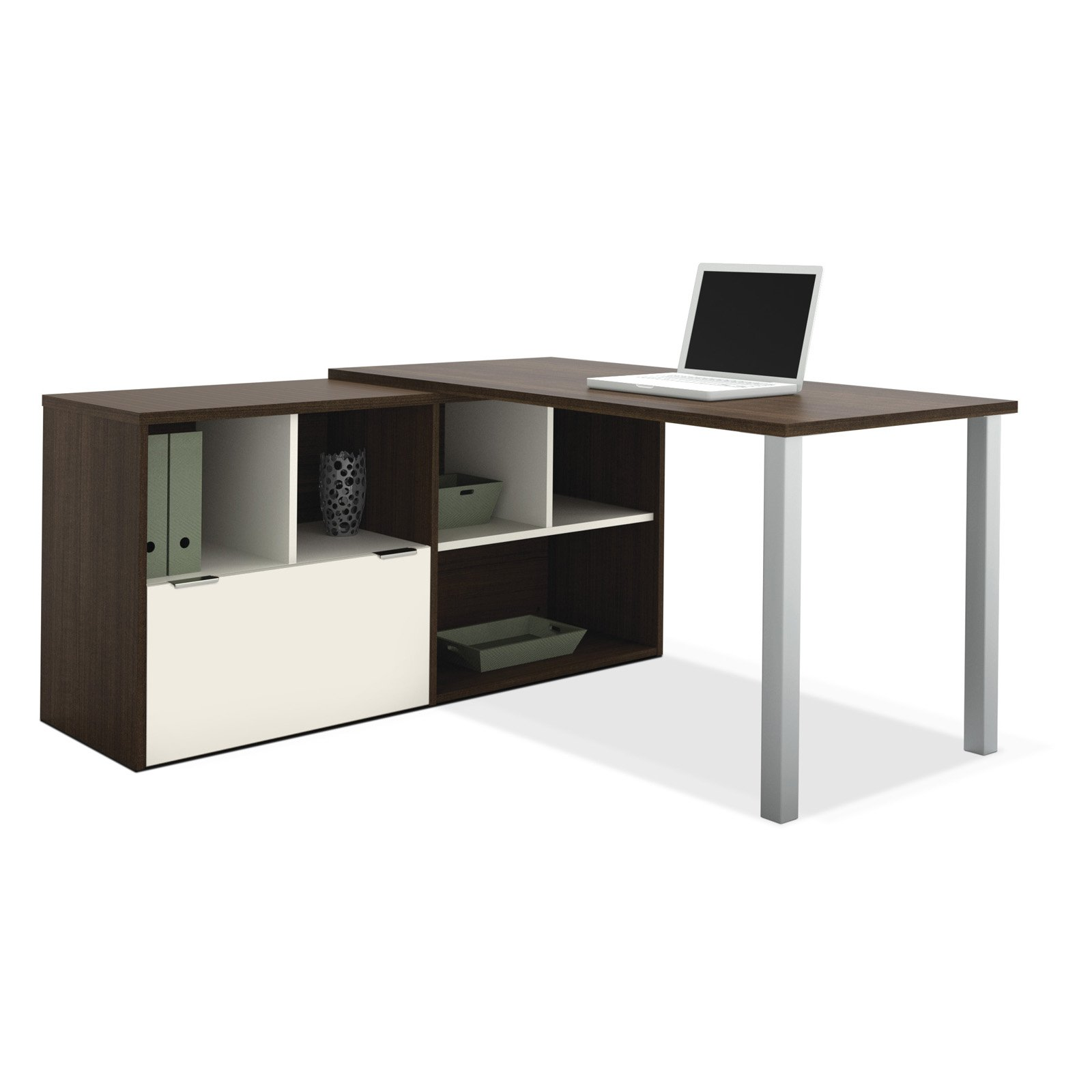 Bestar 50852-60 Contempo L-Shaped Desk Tuxedo   Sandstone by Bestar