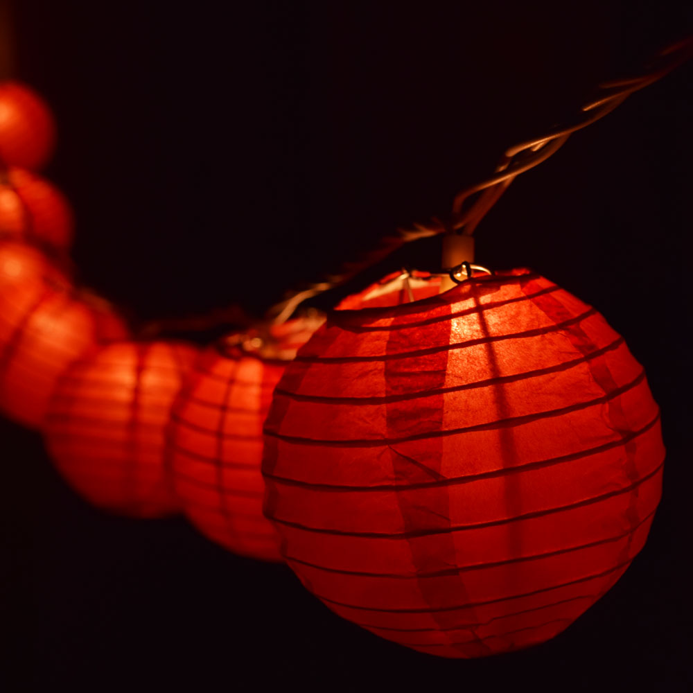 "10 Socket Red Round Paper Lantern Party String Lights (4"" Lanterns) by Asian Import Store, Inc."