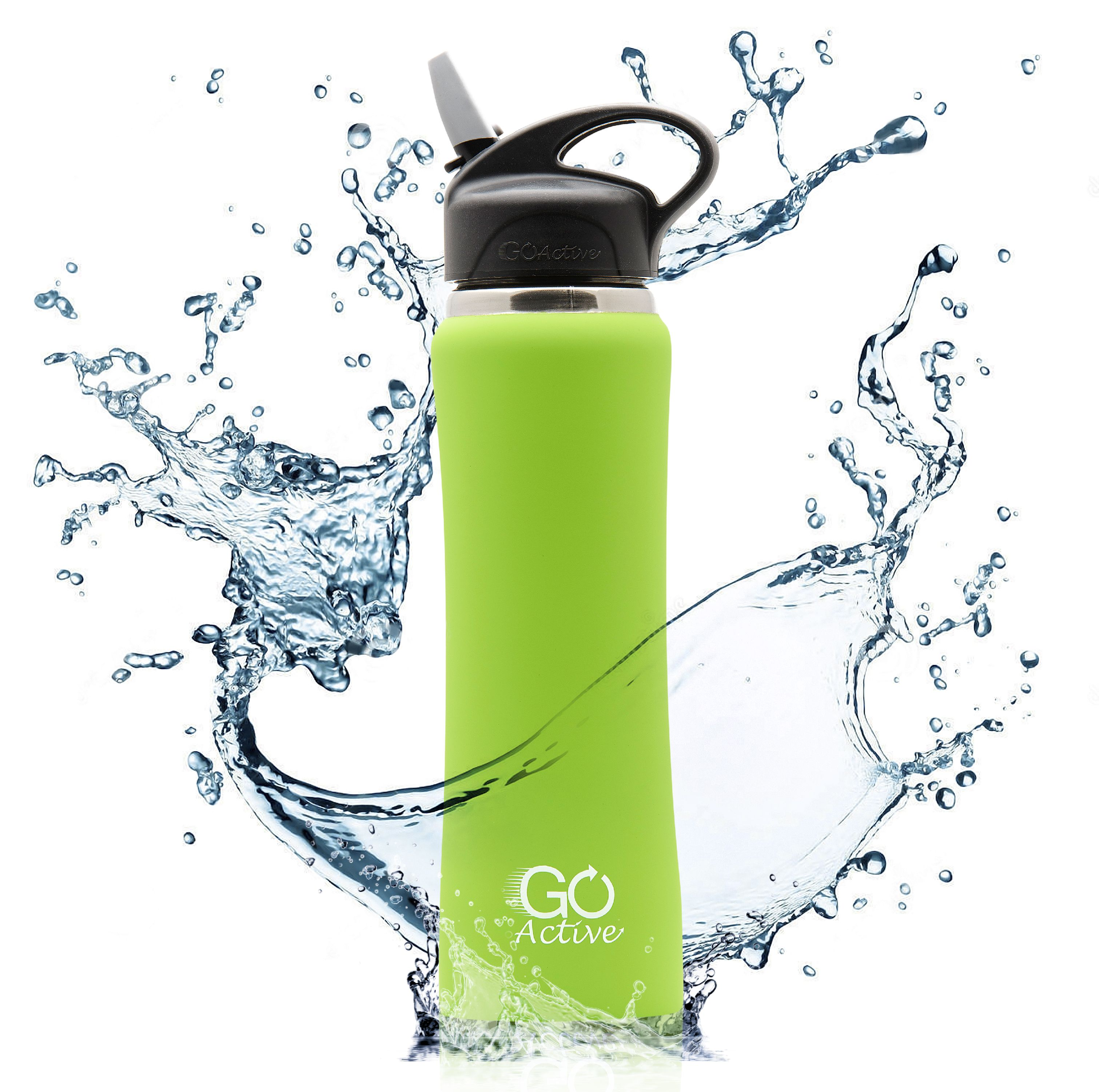 GO Active - Insulated Water Bottle with Straw. This Stainless Steel Sport Bottle is Leak Proof, Perfect for Kids, Durable, Vibrant Colors, and keeps ice over 24 hours!