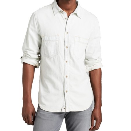 7 For All Mankind New White Mens Size Small S Button Down Cotton