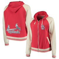 St. Louis Cardinals Soft as a Grape Women's Plus Size Varsity Raglan Full-Zip Hoodie - Red/Cream