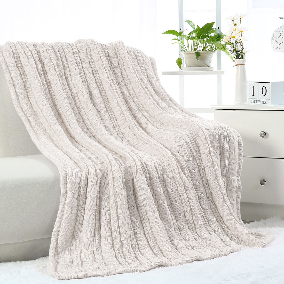 Soft Warm Throw Sofa Couch Bed Cable Knit Reversible Throw Blanket , Beige