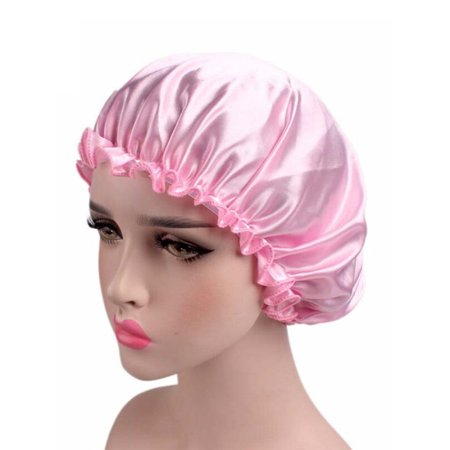 Womens Soft Pure Satin Silk Sleeping Caps Night Sleep Hats Hair Scarves (Silk Wool Cap)