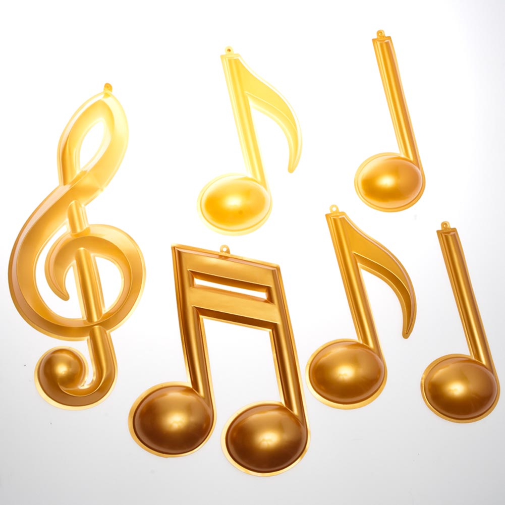 Beistle 54880 Gold Plastic Musical Notes - Pack of 12