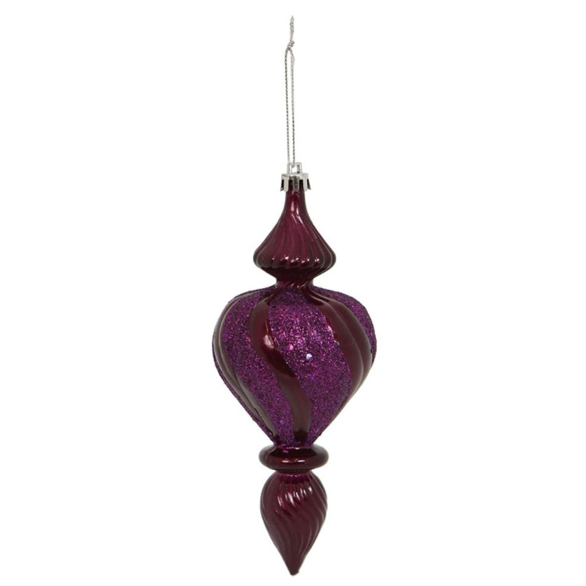 """Package of 3 Plum Candy Finish Finial Ornaments 7"""""""